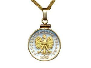 Gorgeous 2-tone Polish penny size Eagle with crown Coin Necklace-S-163