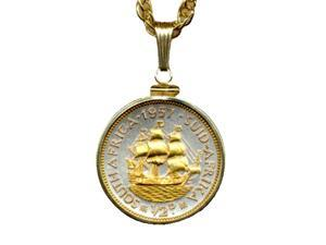 South African Penny Sailing Ship Gold Filled Bezel Coin 18 Necklace-S-114