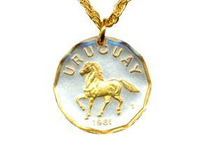 Two Tone Gold Filled Bezel Horse Coin Necklace-N-124