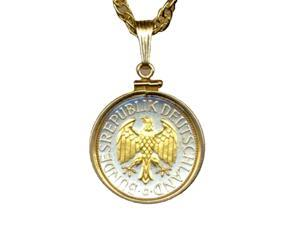 Gorgeous 2-tone Gold on Silver German Eagle Coin Necklace-S-129