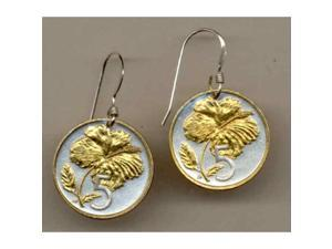 Gorgeous 2-Toned Gold on Silver 5 cent Hibiscus Nautical Coin Earrings-132ERSS