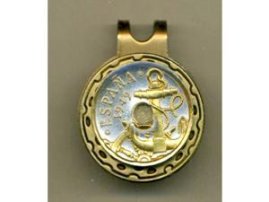 Gorgeous 2-tone Gold on Silver Anchor & ShipsCoin Ball Marker-HC-139