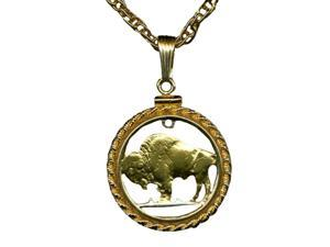 Stunning Buffalo Head Nickel Coin Cut Outs Bezel Chain-nacklaces-C-128RB