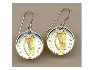 Two Tone Gold on Silver tone Irish Harp Earrings-149ERSS