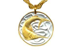 Singapore 20 Cent Sword Fish Coin Pendant with 18 Chain necklaces -N-159