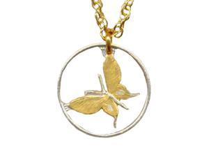 Beautifully Two tone Papa New Guinea Butterfly Cut Out Necklace-C-122