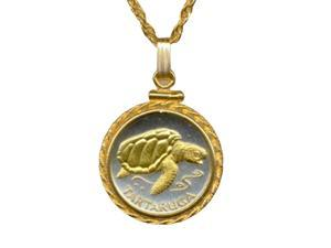 Gorgeous 2-tone Gold On Silver Cape Verde Sea Turtle Coin nacklaces-187