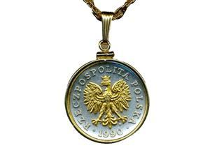 Gorgeous 2-tone Gold on Silver Polish Eagle with Crown Coin Necklace-S-193