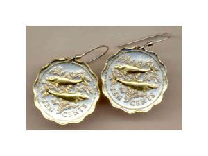 Gorgeous 2-tone Gold on Silver Bone fish Nautical Coin Earrings-154ERSS