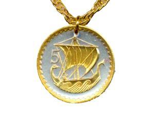 Two Toned Stunning World Nautical Cut Viking Ship Coin Chain necklaces -N-147