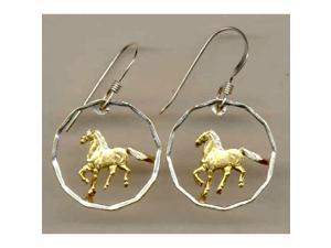 Uruguay 10 Centesimal Horse Cut Out Earrings