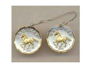 Two Tone Coin Horse Earrings-124ERSS