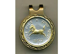 Gorgeous 2-tone Gold on Silver India Horse-Coin-Golf Ball Marker-Hat Clip