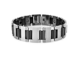 Crucible Tungsten Silvertone and Black Link Men's Bracelet