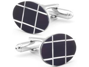 Oval Onyx and Mother of Pearl Cuff Links