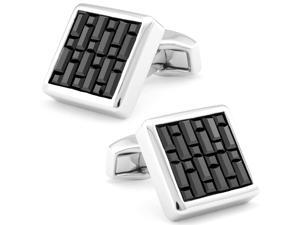 Tateossian Swarovskli Interlock Square Jet Cufflinks