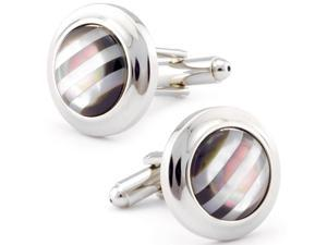 Circular Striped Onyx and MOP Cuff Links