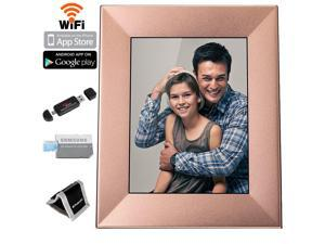 "Nixplay Iris 8"" Digital Picture Frame With Wi-Fi Cloud (W08E - Peach Copper), Samsung 16GB Class 6 Micro SDHC, Polaroid Memory Card Wallet and Ritz Gear Card Reader"