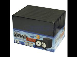 Merax 3-Disc DVD Case, 14mm, Black Color, 10-Pack