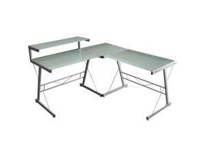 Merax Modern Ergonomic Corner Computer Desk, ML-K006 (Glass Corner Computer Desk)