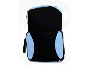 Merax School Snack Backpack (Backpack converts to a snack pack), Polyester, Light Weight, Black/Lt. Blue Color