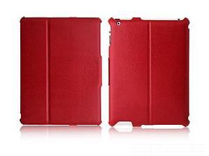 iShell Vogue Snake-Print PU Leather Case w/ Stand, 3 Viewing Angles, Sleep/Awake Function for iPad (Red)