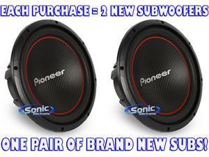 "Pair of Pioneer TS-W304R 12"" Single 4 ohm Champion Series Component Car Subwoofers"