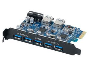 ORICO PVU3-5O2U USB3.0 7 - Ports Desktop PCI - Express Card  with VL800 & VL812  USB 3.0 Controller