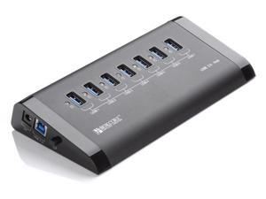 ORICO Bokcore BC-U3H7 -BK Aluminum 7 - Port USB3.0 HUB with Dual VL812 USB3.0 Controller Premium Power Adapter & 3.3 Ft. ...