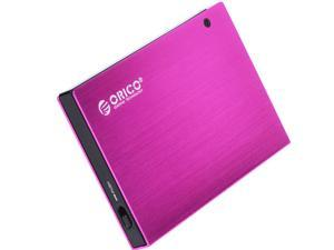 ORICO 2595US Full Aluminum 2.5 inch SATA TO USB 2.0 External Hard Drive Case Tool Free Enclosure - Purplish Red
