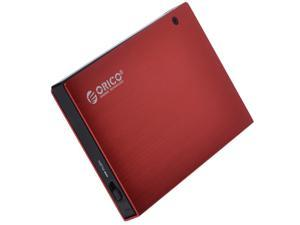 ORICO 2595US 2.5-Inch SATA to USB 2.0 External Hard Drive Enclosure- Red