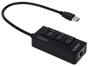 ORICO  Portable 3 Port USB 3.0 HUB with 1 RJ45 10/100/1000 Gigabit Ethernet LAN Wired Network Adapter - Black