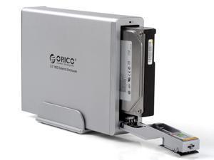 """Orico 7618SUS3-BK Tool-Free USB 3.0 & E-SATA Interface Aluminum 3.5"""" SATA HDD Enclosure (Silver)"""