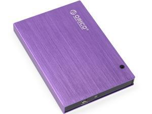 "ORICO Tool free 2.5""USB2.0 SATA External Aluminum HDD/SDD Enclosure-Purple (2595US)"