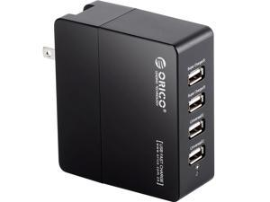 ORICO DCX-4U 34W 6.8A 4-Port Portable Travel Wall USB Charger with Foldable Plug for iPhone 6s / 6 / 6 plus, iPad Air 2 / mini 3, Samsung Galaxy S6 Edge / Note 5, HTC M9, Nexus and More - Black