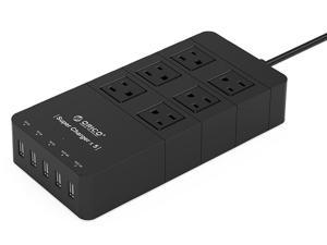 ORICO HPC-6A5U 40W 6 Outlet Power Strip with Surge Protector, 5 USB Intelligence Charging Ports - Black