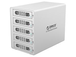 ORICO Aluminum 5 Bay 3.5 inch USB 3.0 and e-SATA Interface Support 0/1/3/5/10 RAID Models External HDD RAID Enclosure for PC Mac OS [Support 8TB Drive Max ]-Silver (3559RUS3-V1-US-SV)