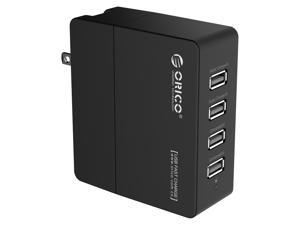 ORICO DCX-4U 34W 6.8A 4-Port Portable Travel Wall USB Charger with Foldable Plug for iPhone 6s / 6 / 6 Plus, iPad Air 2 / iPad mini 3, Samsung Galaxy S6 Edge / Note 5, HTC M9, Nexus and More - Black