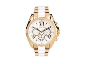 Michael Kors Bradshaw Chronograph White Dial Two-tone Ladies Watch MK5743