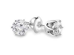3/4 CTW 6-Prong Solitaire Diamond Stud Earrings in 14K White Gold with Screw Backs
