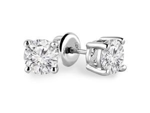 3/4 CTW Solitaire Round Diamond Stud Earrings in 14K White Gold with Screw Backs (SI1-SI2)