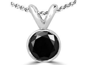 1/5 CT Bezel Set Soliraire Round Black Diamond Pendant Necklace in 14K White Gold With Chain