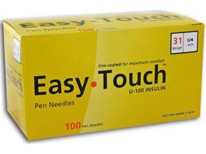 Easy Touch Pen Needles 31 Gauge 1/4 in - 100 ea