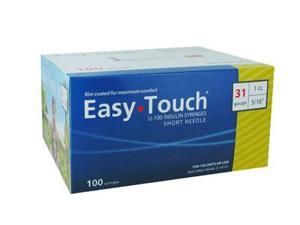 Easy Touch Insulin Syringes 31 Gauge 1cc 5/16 in - 100 ea