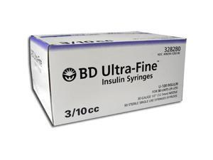 BD Ultra-Fine Insulin Syringes 30G 3/10cc 1/2 in - 90 ea