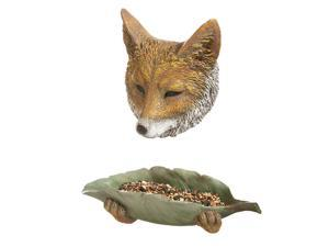 Fox Tree Face and Leaf Bowl Birdfeeder