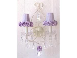 A Vintage Room Double Light Wall Sconce with Rose Shades