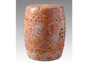 Orange Ceramic Garden Stool with Dragon Motif