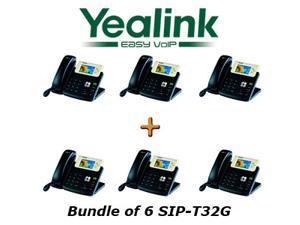 Yealink SIP-T32G, Bundle of 6 Gigabit Color VoIP Phone SIP-T32G