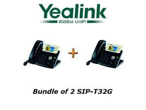 Yealink SIP-T32G Bundle of 2 Gigabit Color VoIP Phone No Power Supply
